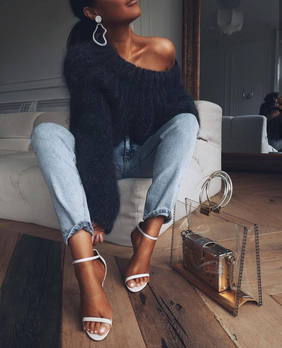 How To Wear Mohair One Shoulder Sweater For Fall 2020