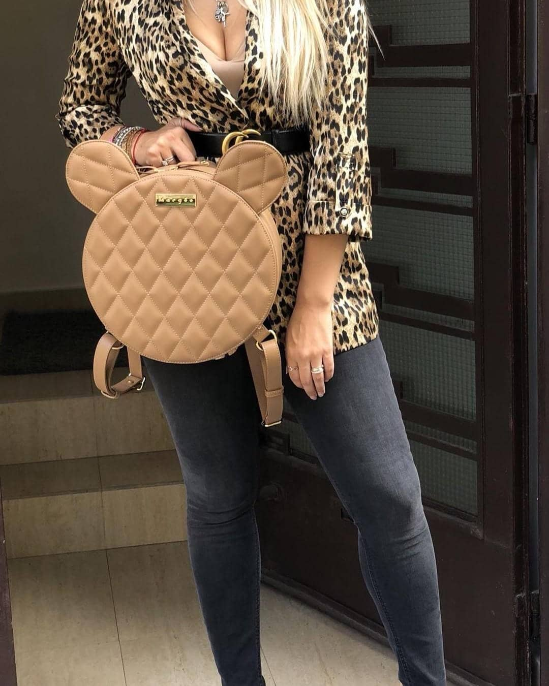 Leopard Print Blazer With Charcoal Skinny Jeans And Rounded Backpack For Spring 2021