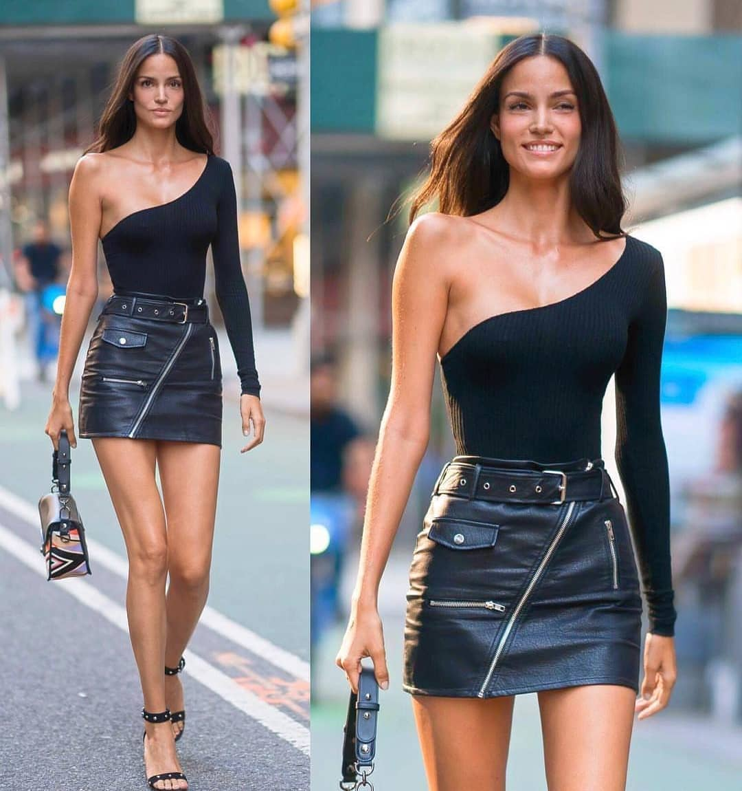One Sleeve Black Slim Sweater And Black Biker Style Skirt For Spring 2019