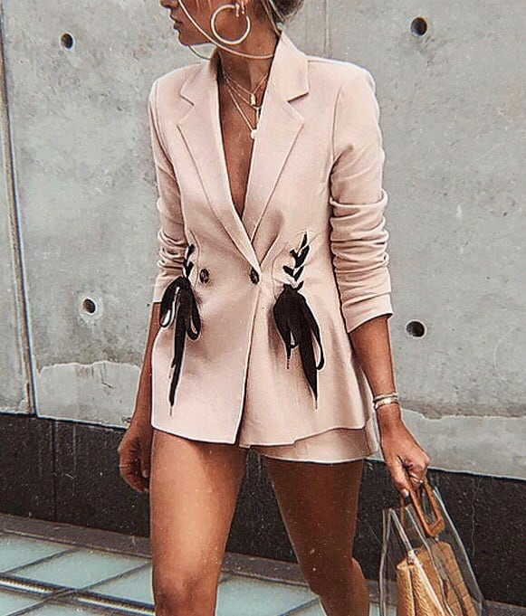 Cream Blush Blazer And Matching Color Shorts For Summer 2019