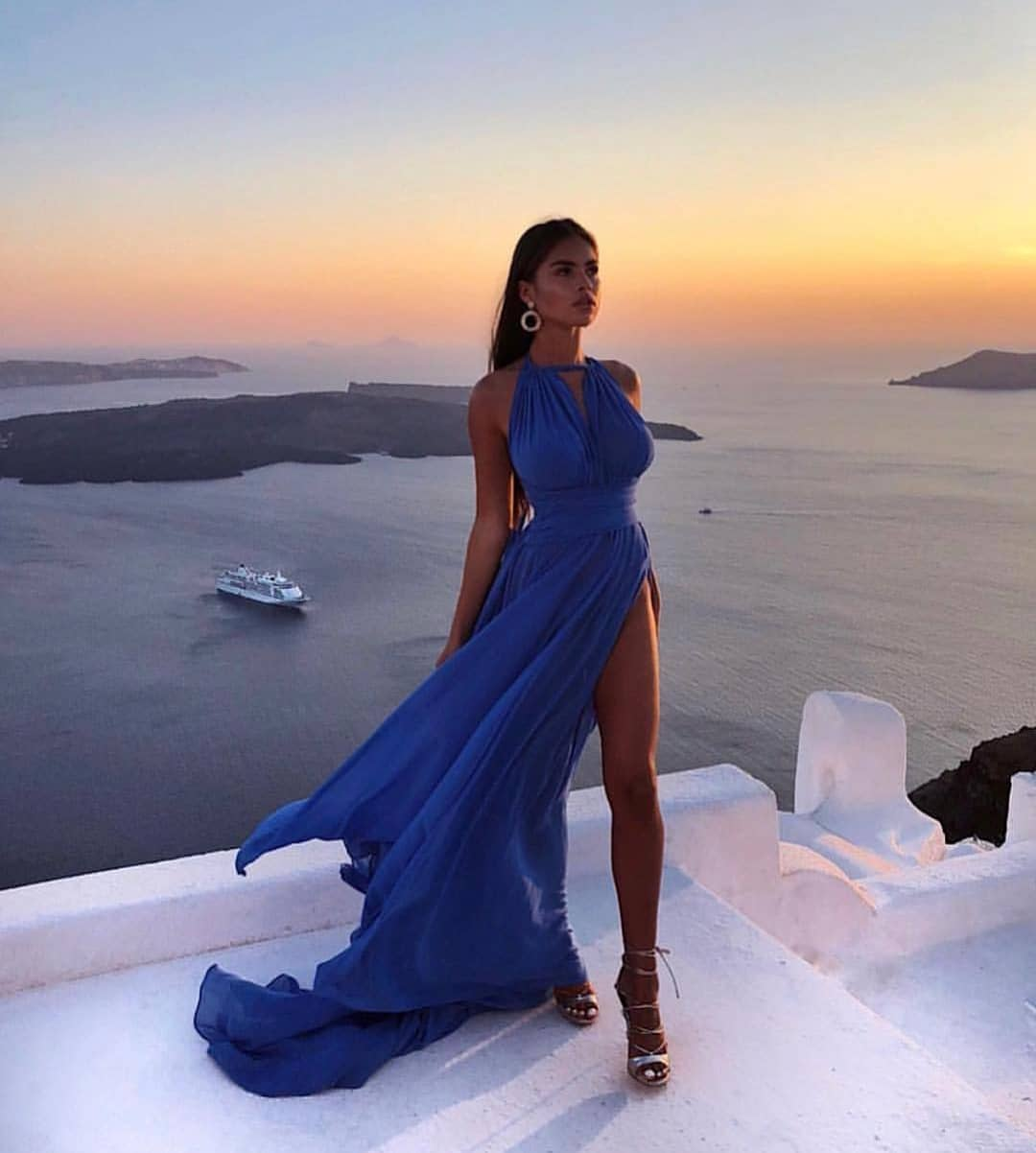 Blue Maxi Gown With High Slit For Vacation 2019