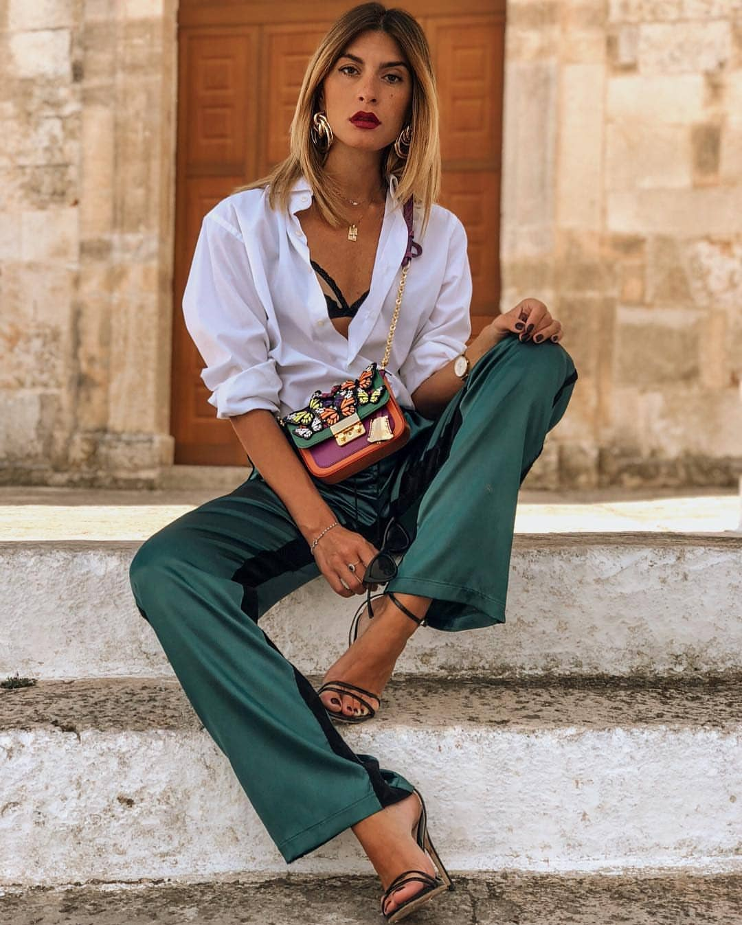 White Shirt And Silk Dark Green Wide Pants For Summer 2019