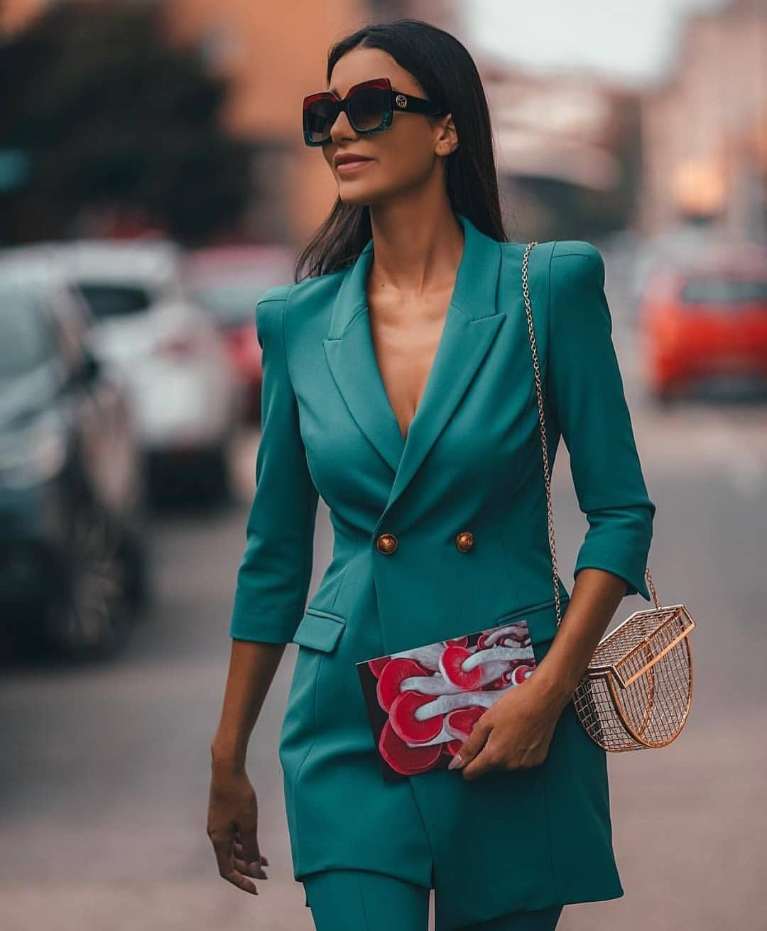 Turquoise Double-Breasted Pantsuit For Spring 2020