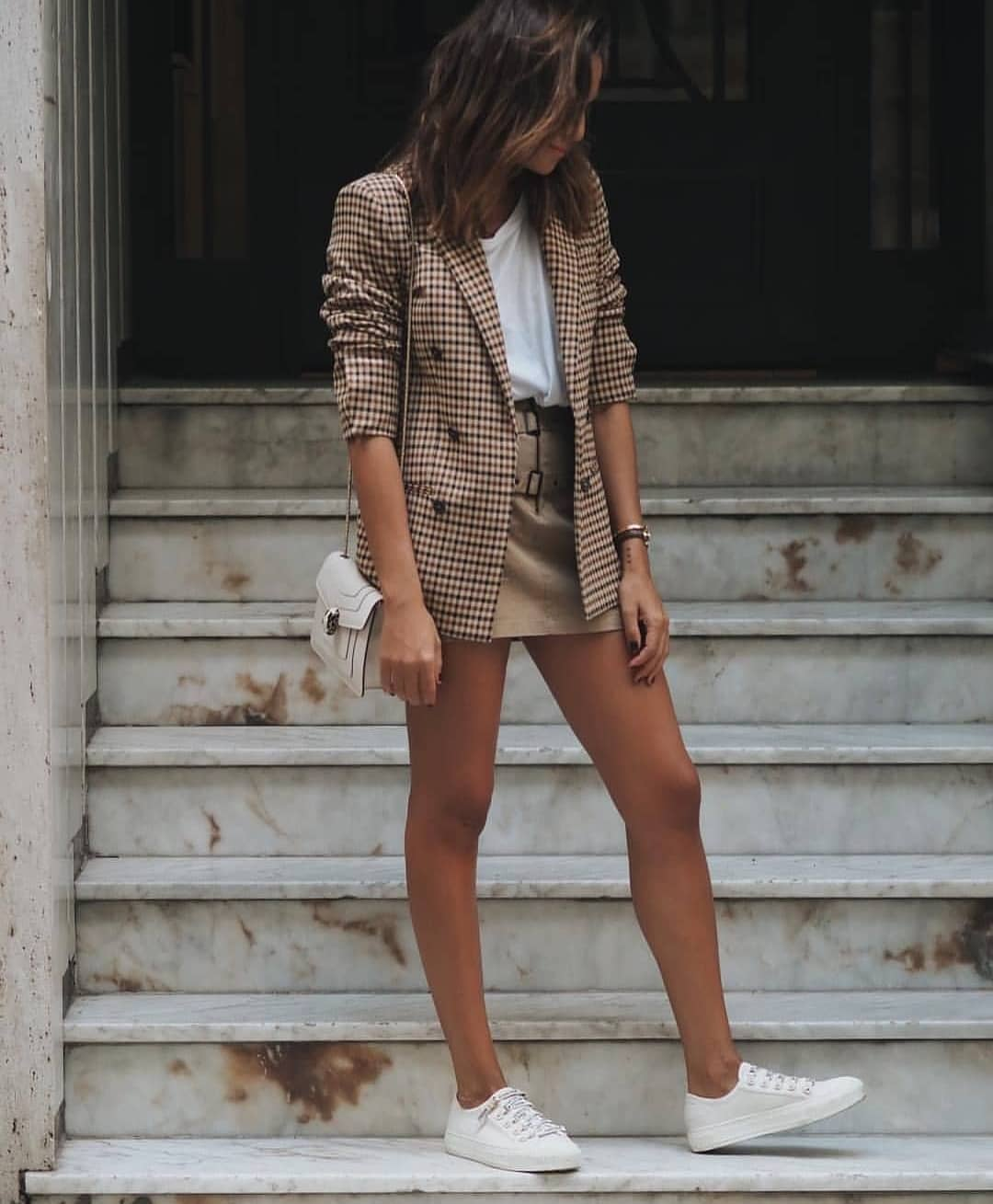Plaid Blazer With White Tee, Beige Skirt And White Kicks For Spring 2019