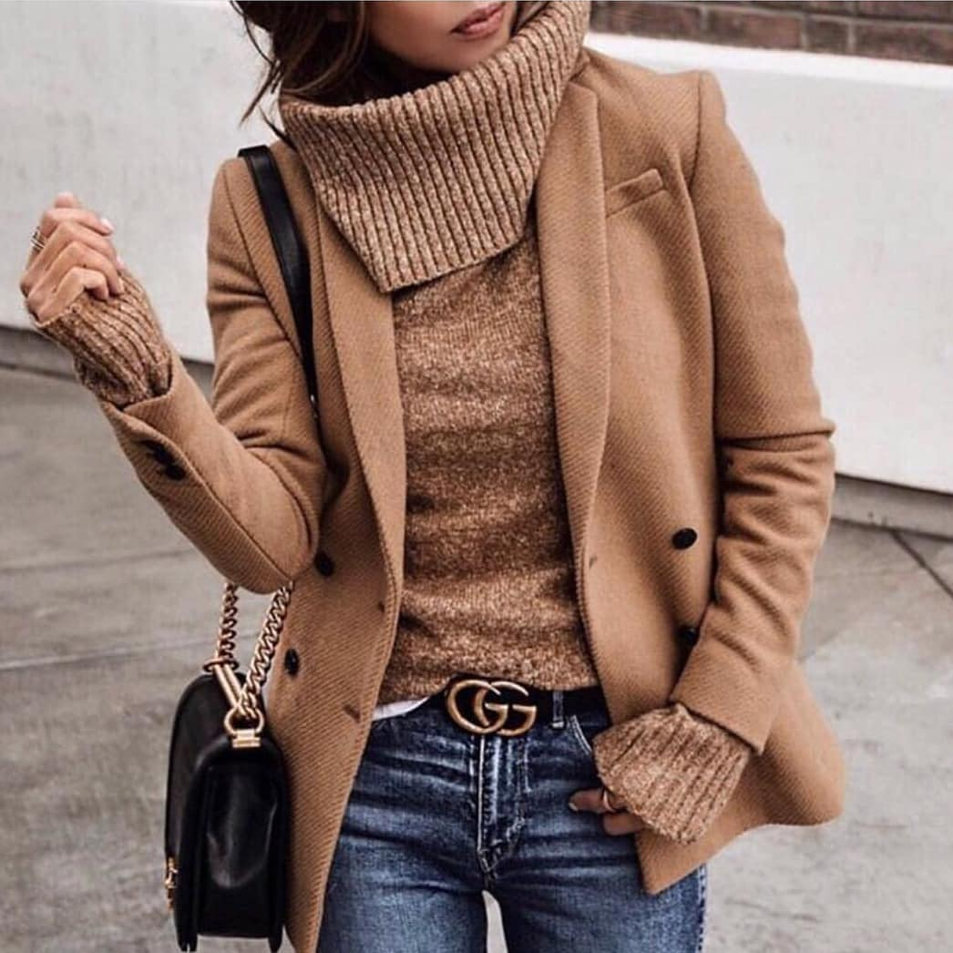 Camel Peacoat With Matching Color Sweater And Wash Blue Jeans For Fall 2019