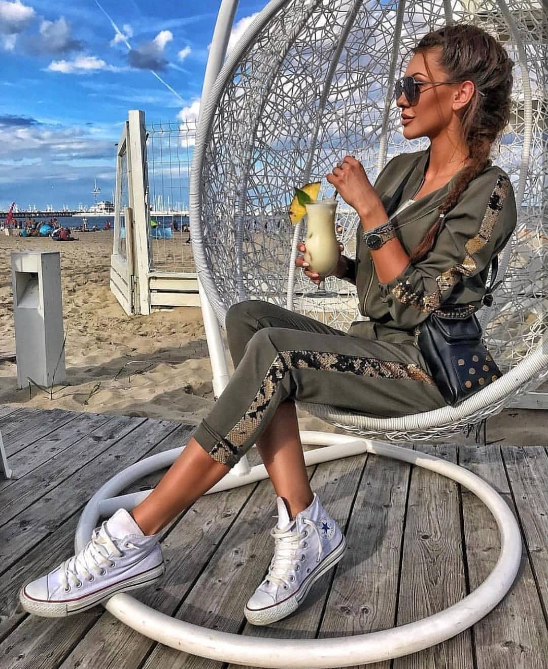 Khaki Green Track Suit And White Trainers For Summer 2020