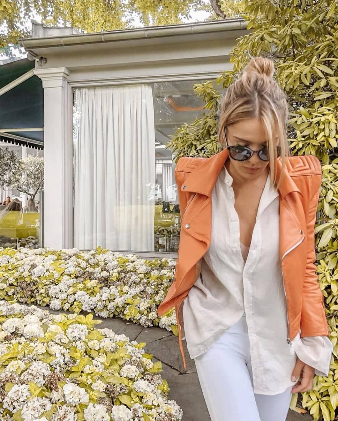 Light Orange Jacket With All White Combo For Spring 2020