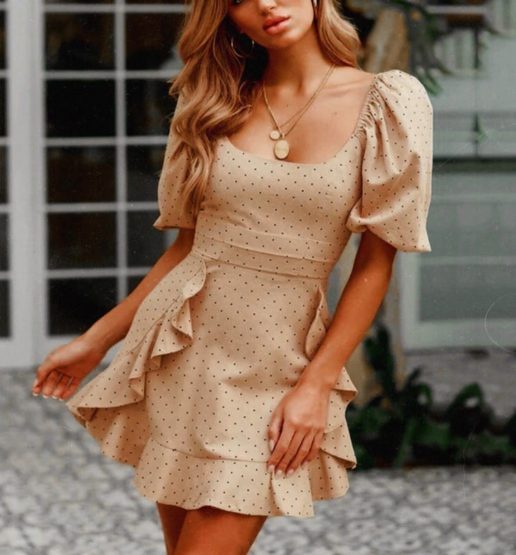 Dotted Short Sleeve Dress With Ruffles For Summer Garden Parties 2020