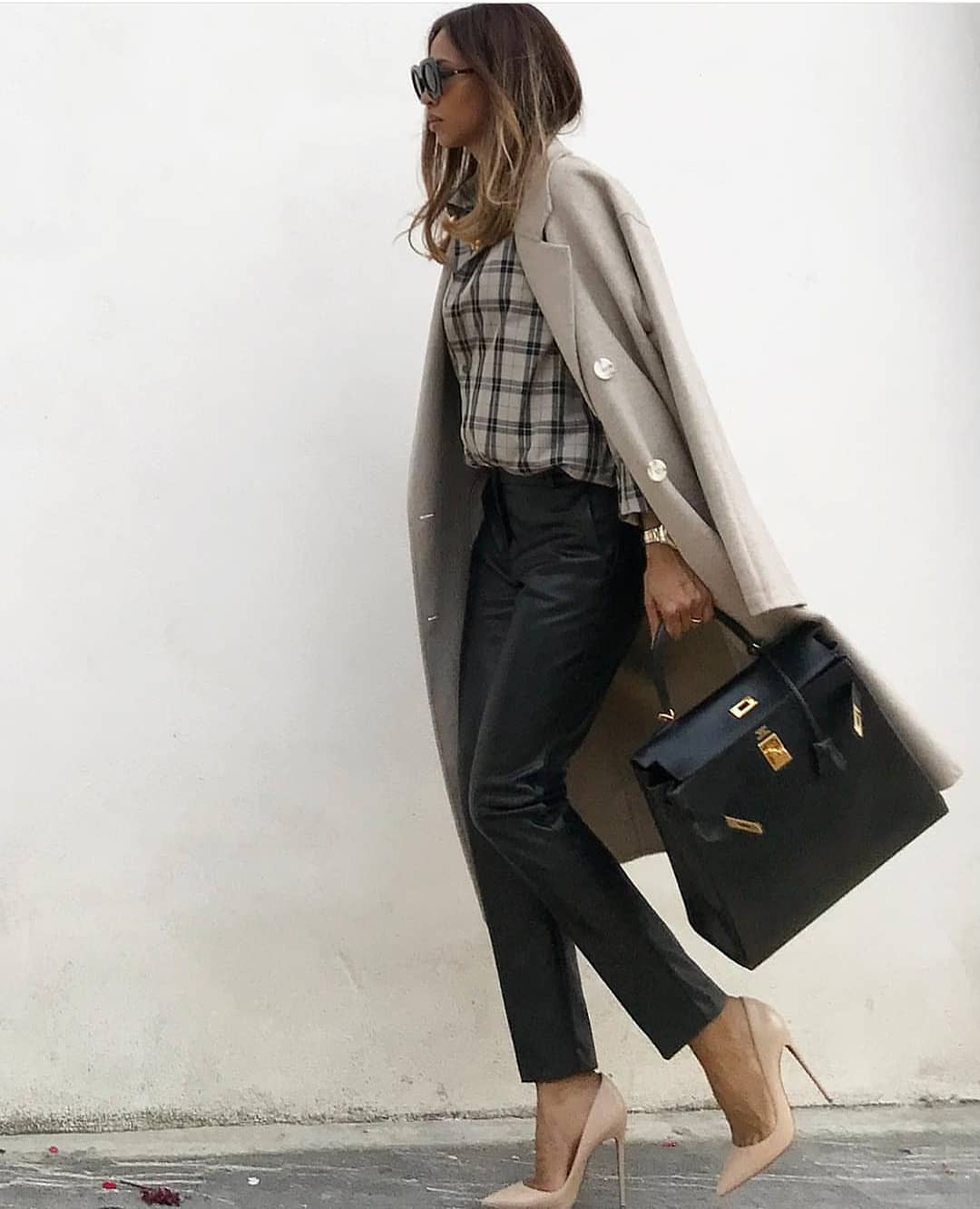 Grey Coat With Plaid Shirt And Black Leather Pants For Fall 2019