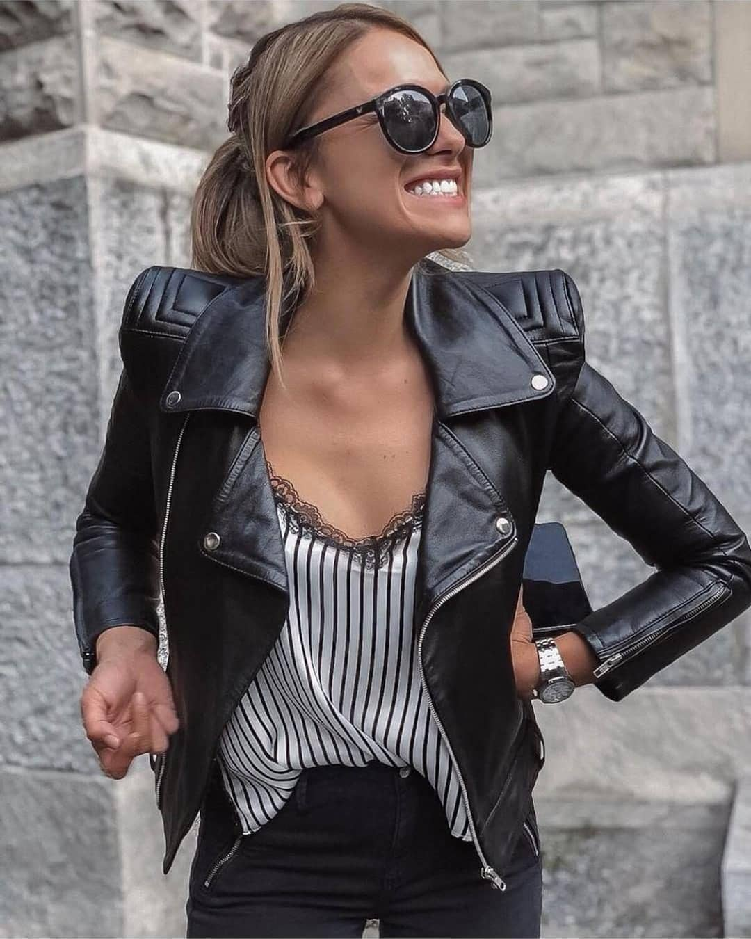 Can I Wear Black White Pinstripe Slip Top And Black Leather Jacket This Summer 2021