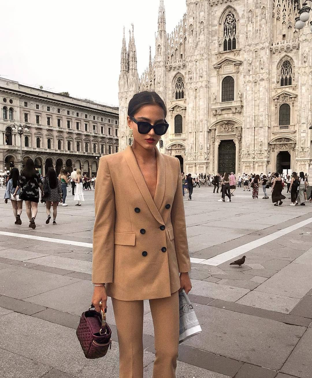 Double Breasted Camel Pantsuit For Fall In Milan 2020
