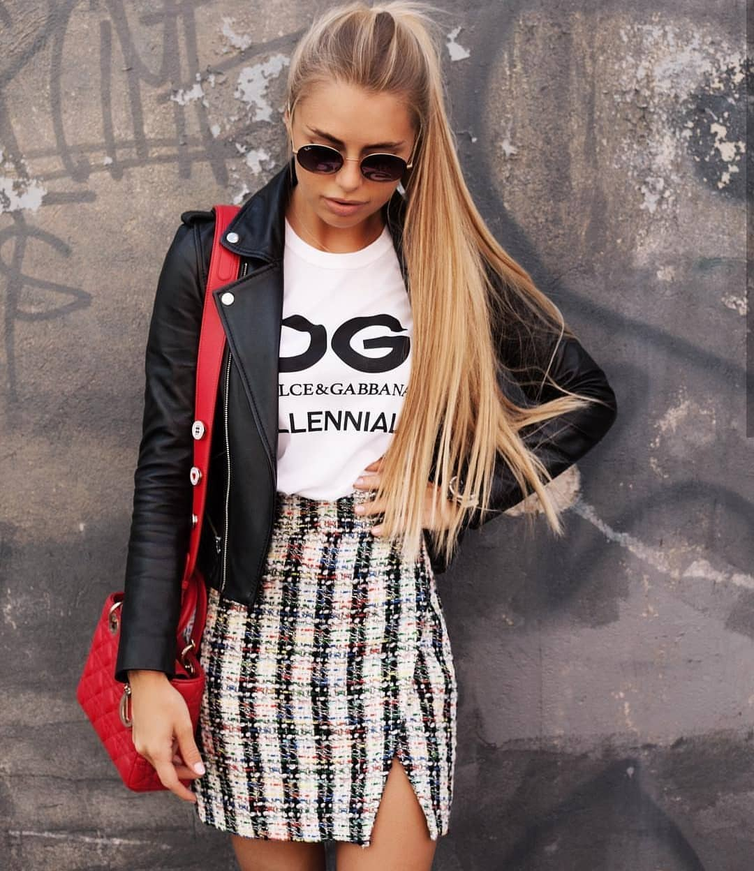 Black Leather Jacket And Plaid Print Mini Skirt For Spring 2019