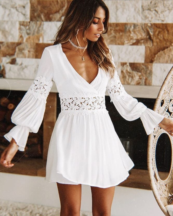 White Boho Mini Dress With Deep Neck And Long Sleeves For Summer 2021