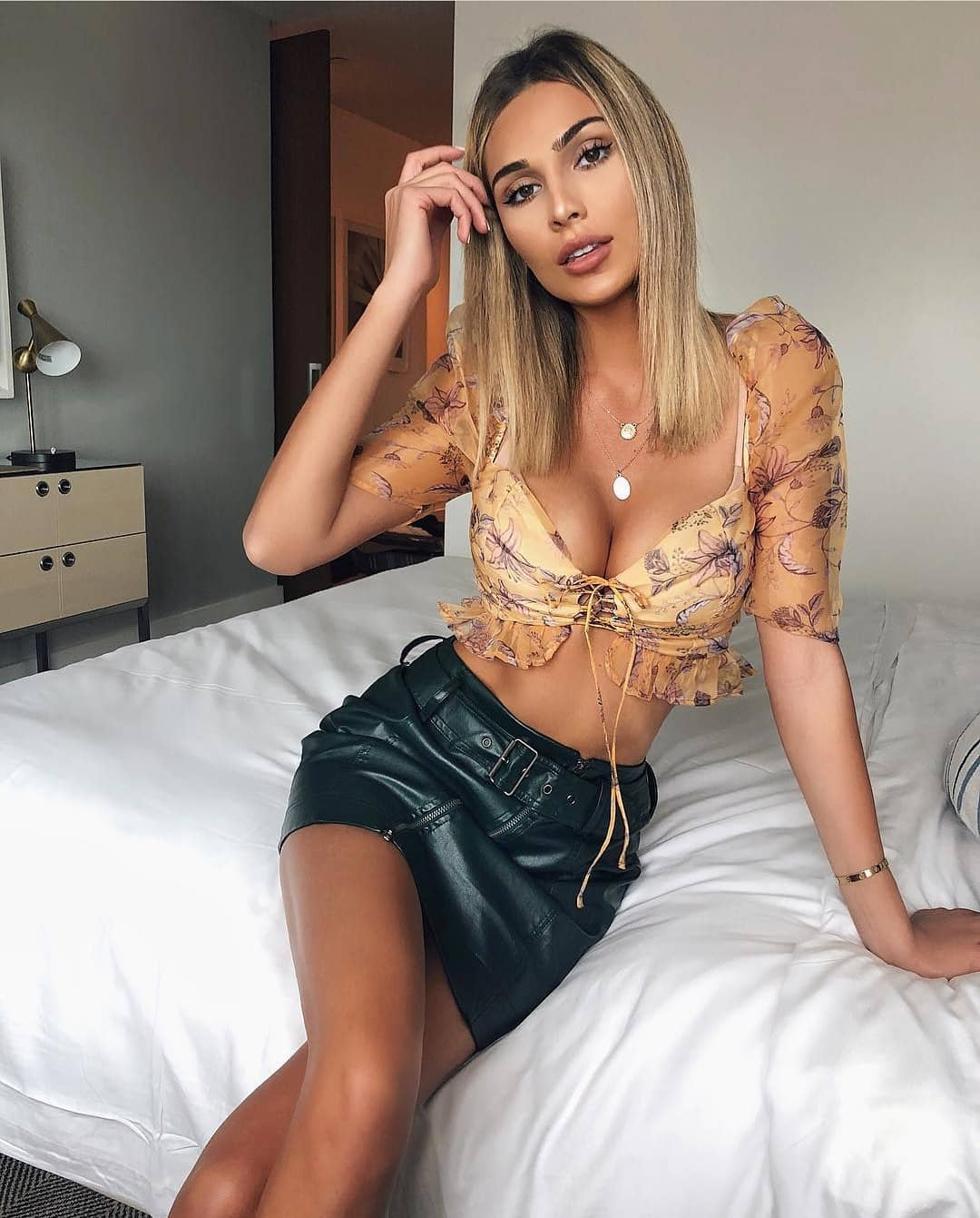 Light Silk Crop Blouse And Leather Mini Skirt For Summer 2019