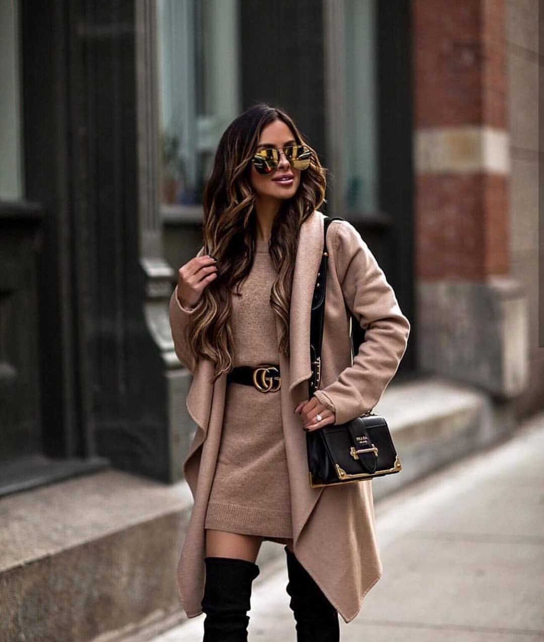 Beige Wrap Coat And Matching Color Sweater Dress For Fall 2019