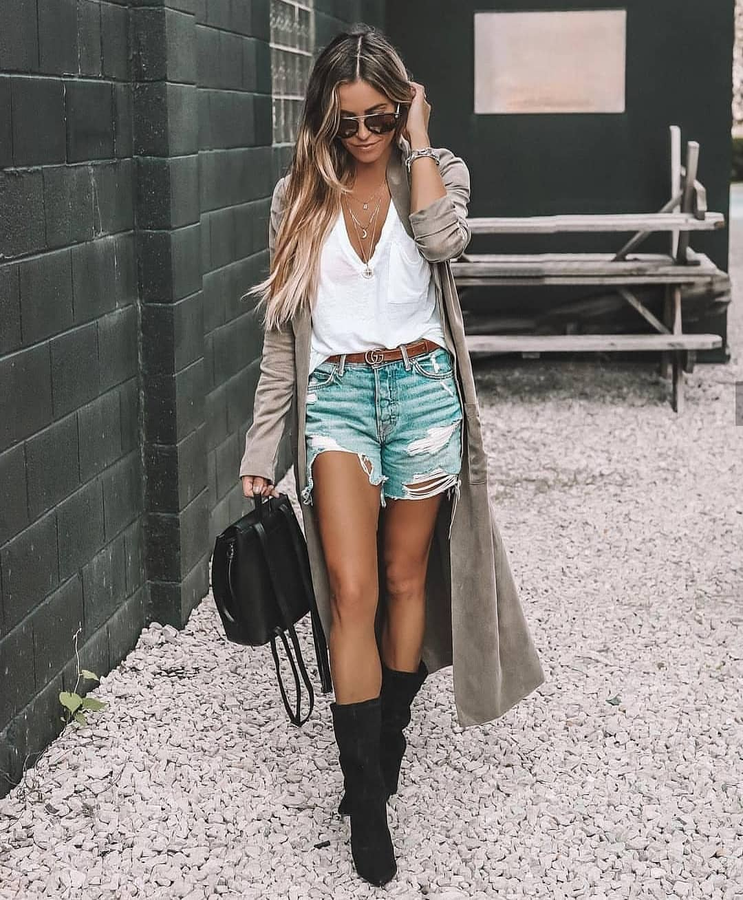 Light Grey Maxi Coat With Ripped Blue Denim Shorts And Black Boots For Spring 2019