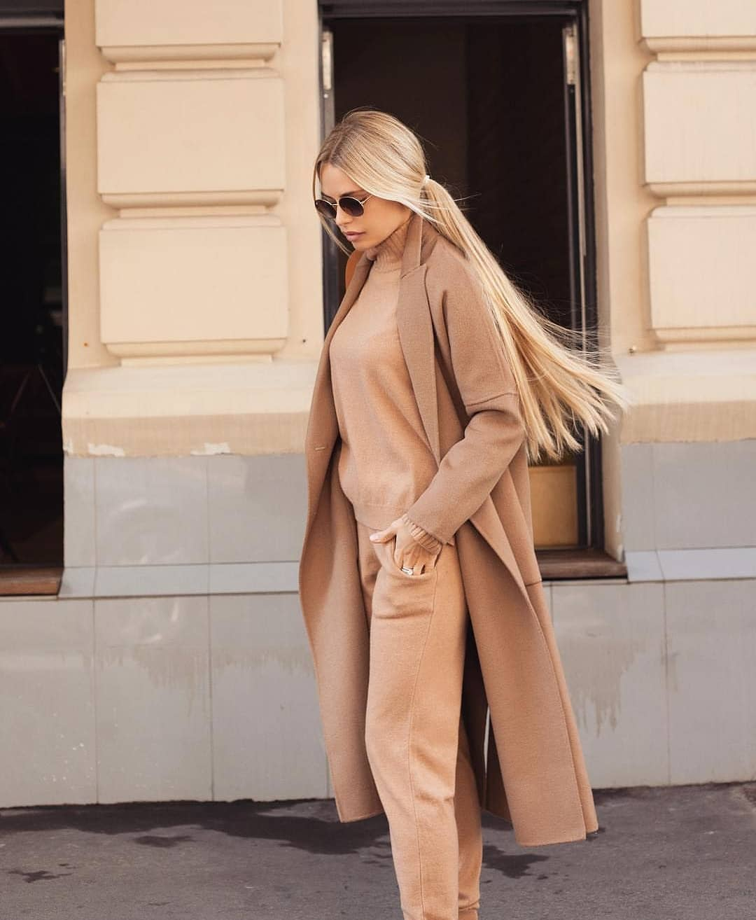 Camel Coat With Matching Color Sweater And Pants: Fall Monochrome Essentials 2019