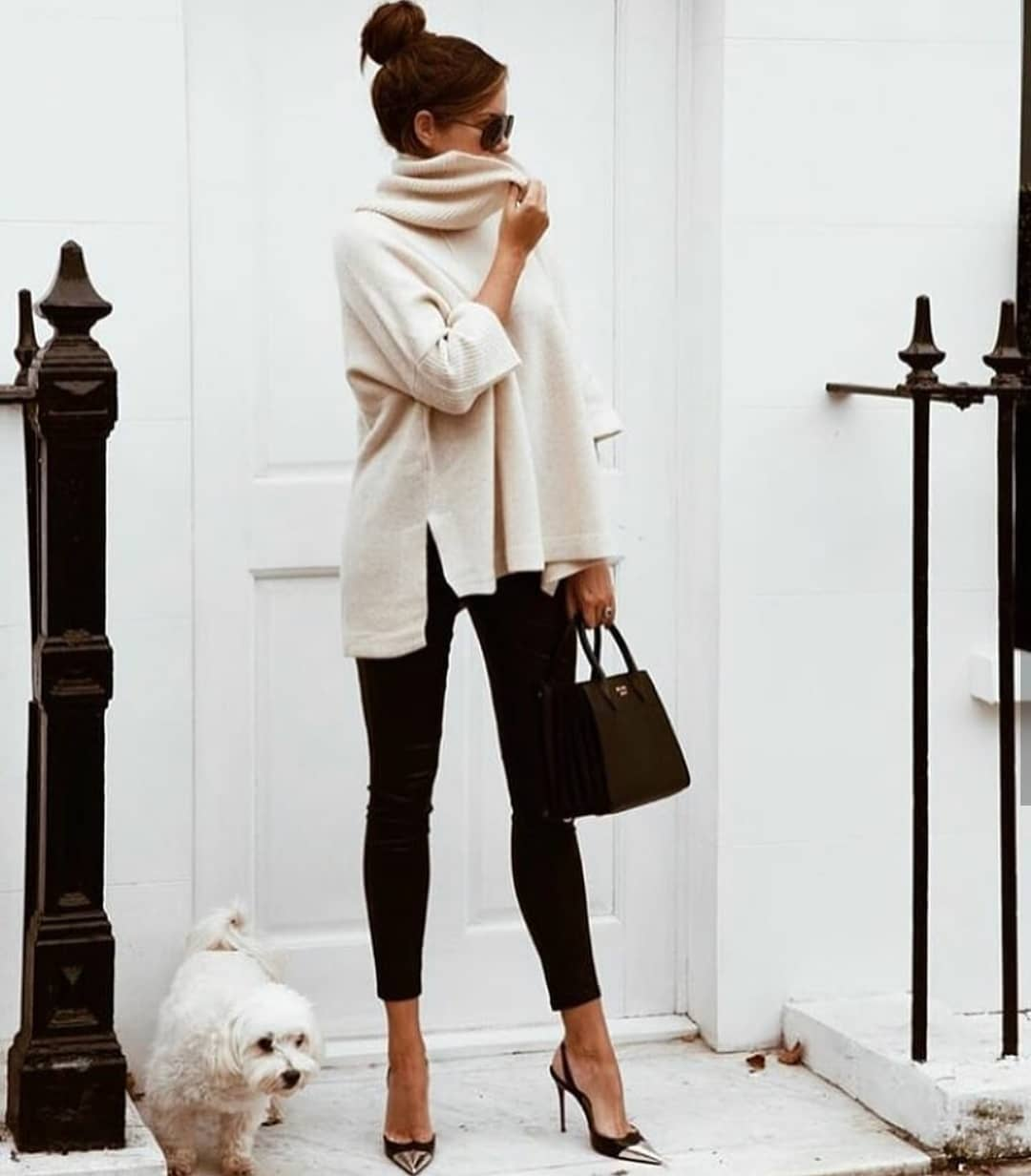Relaxed Fit White High Neck Sweater And Black Skinny Pants For Fall 2019