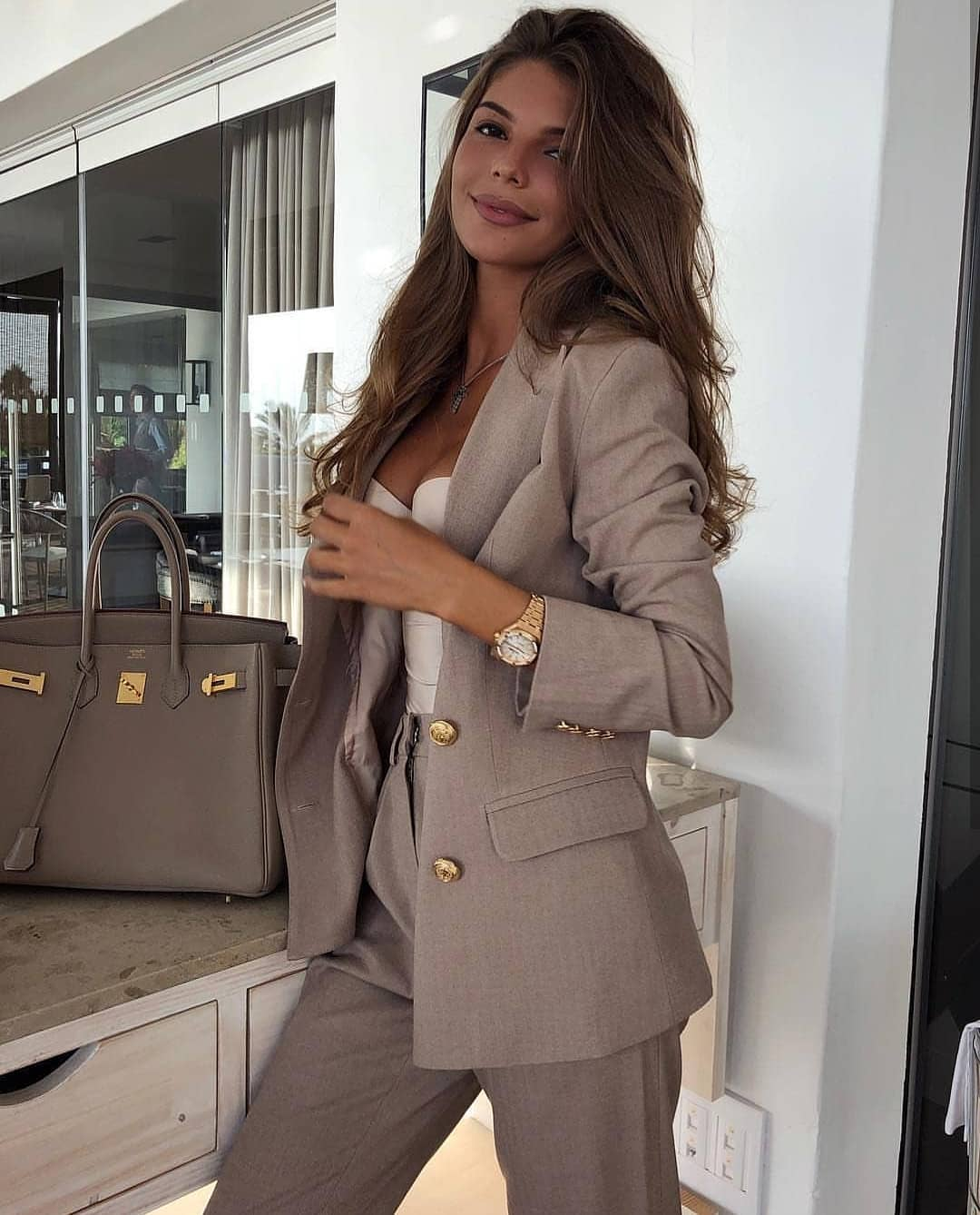 Grey Pantsuit For Summer Work Hours 2020