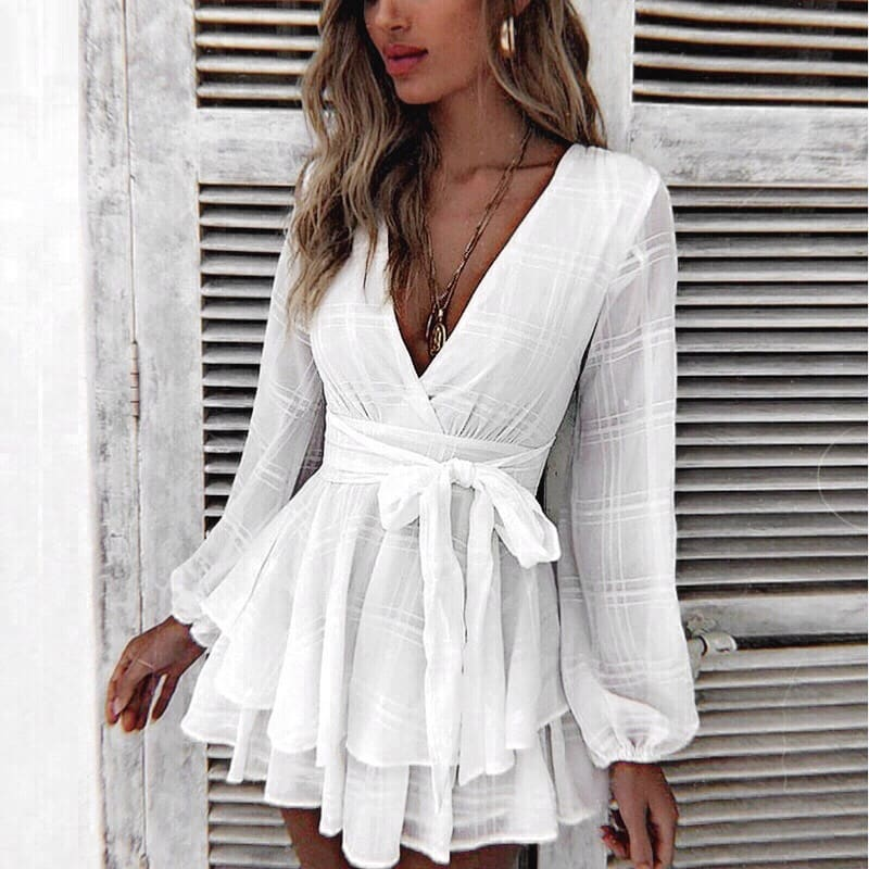 Semi-sheer White Wrap Playsuit With Deep V-neck For Summer 2019