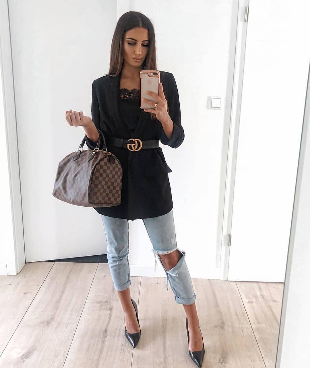 Black Long Belted Blazer And Ripped Wash Blue Jeans With Black Heels 2020