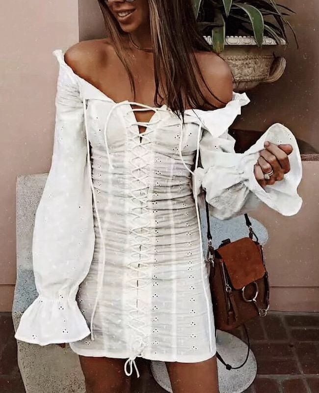 Boho Must Haves: White Peasant Off Shoulder Dress With Bell Sleeves For Summer 2021