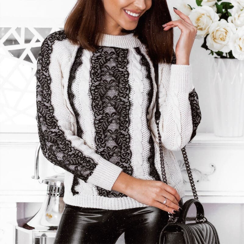 How To Wear White Sweater With Black Lace Detailing This Fall 2019
