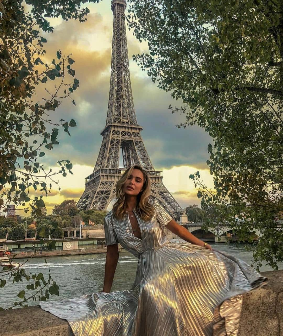 Shiny Silver Pleated Maxi Dress For Spring In Paris 2021