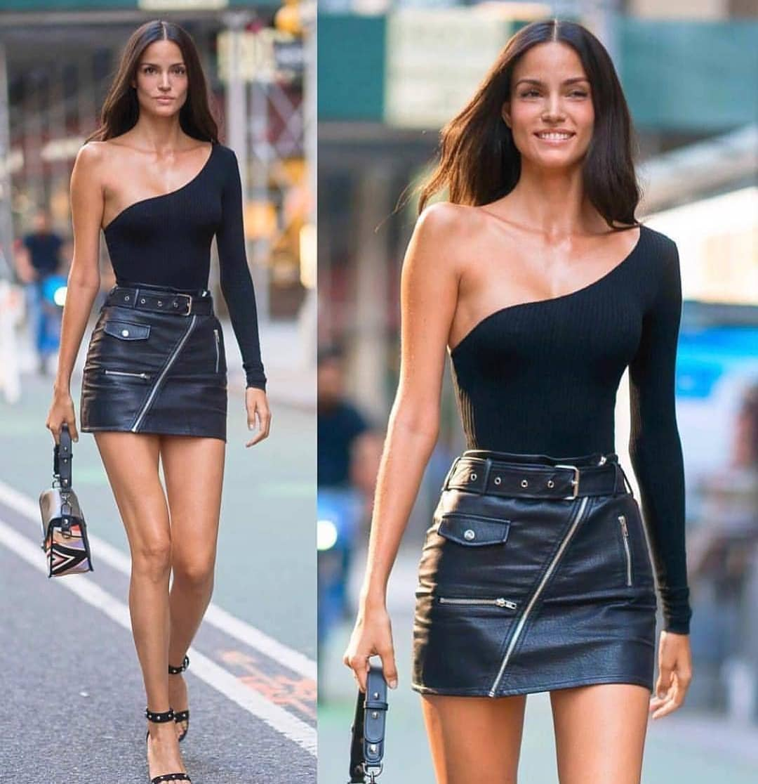 One Sleeve Bodysuit And Black Leather Mini Skirt For Summer 2020