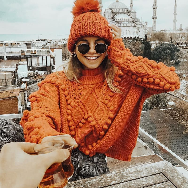 Pom Pom Beanie And Cable Knit Sweater In Orange For Fall 2019