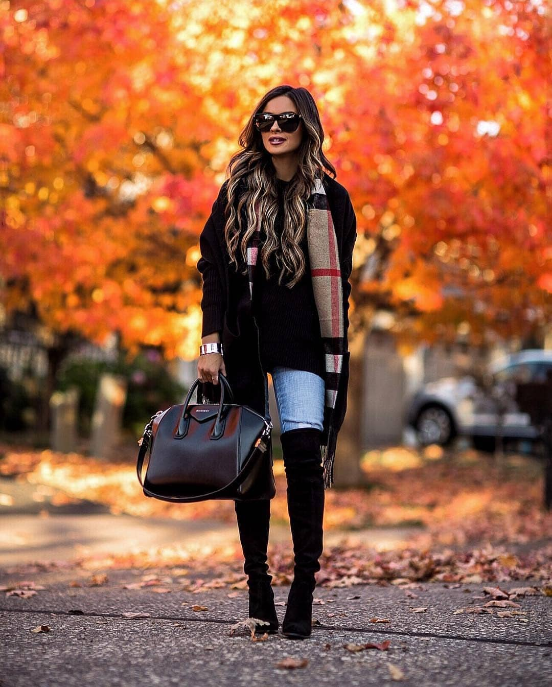 Fall Essentials: Black Coat, Long Sweater And Wash Jeans With OTK Boots In Black 2020