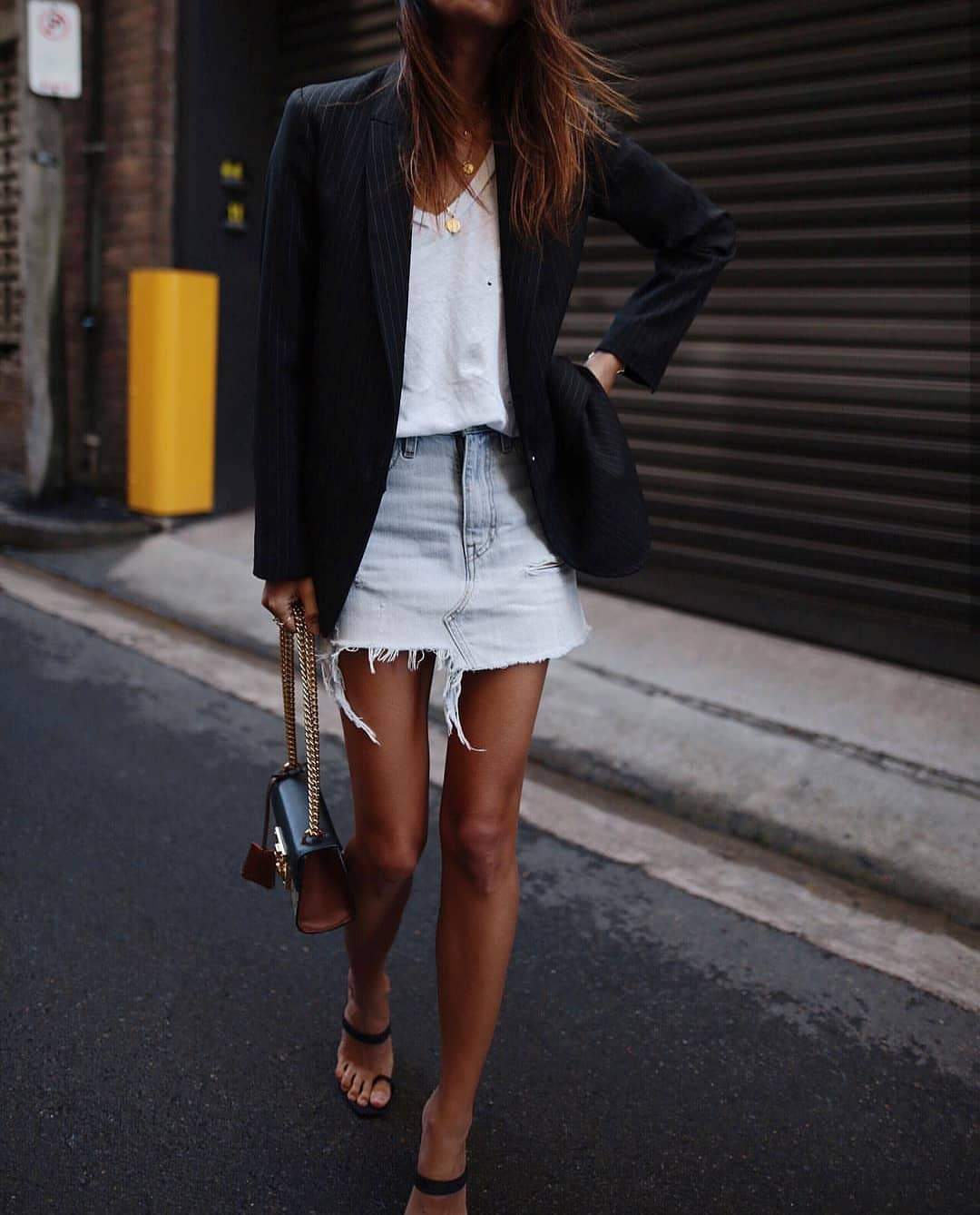 Pinstripe Black Blazer And Wash Denim Skirt For Spring 2021