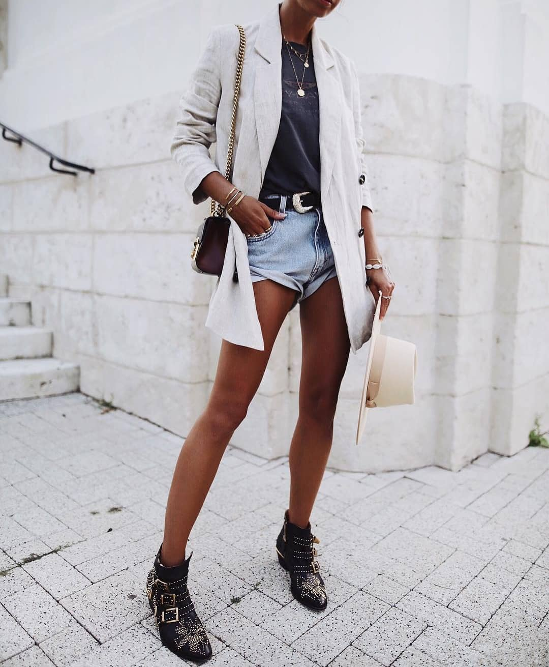 Spring Essentials: Long Blazer In White With Tee And Denim Shorts With Buckled Boots 2019