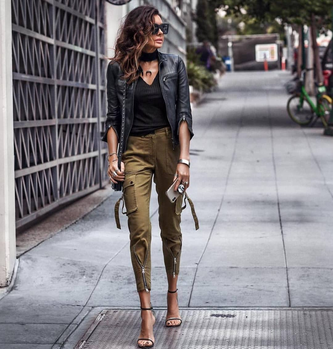 Casual Street Style Look: Black Leather Jacket And Khaki Green Cargo Pants 2019
