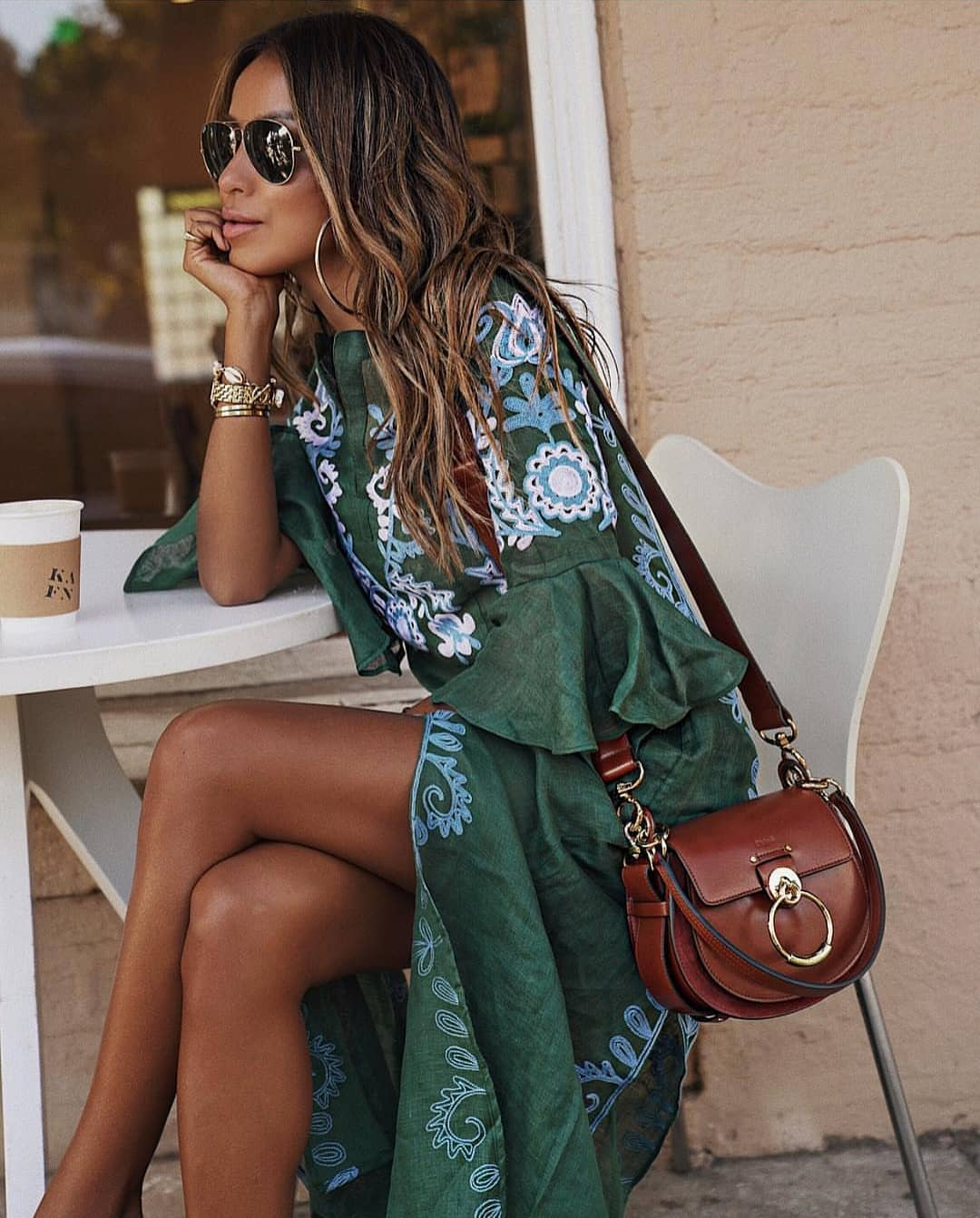 Bohemian Maxi Dress In Green With Embroideries For Summer Vacation 2019