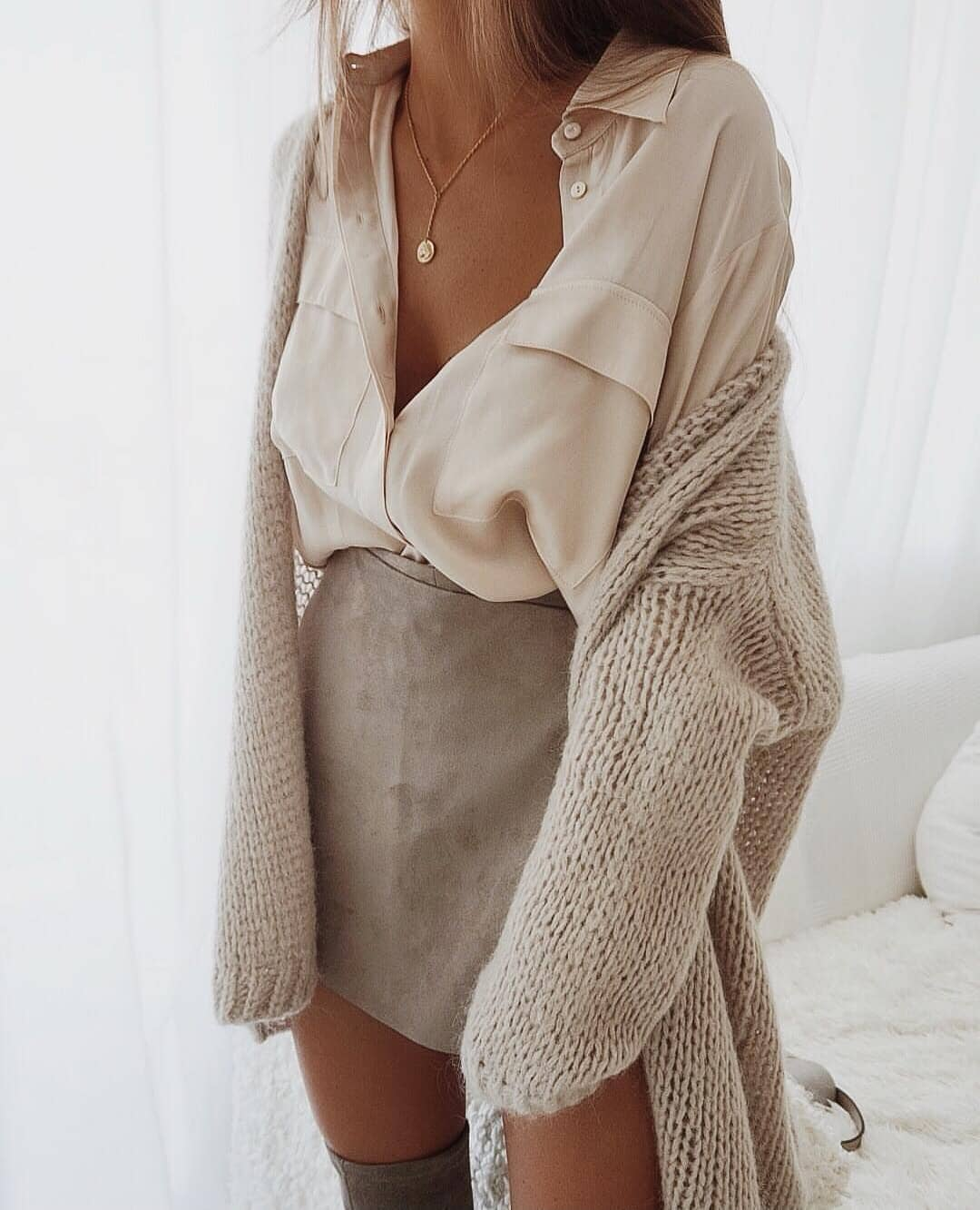 Fall Monochrome Essentials: Beige Shirt, Cream Suede Skirt And Beige Cardigan 2019