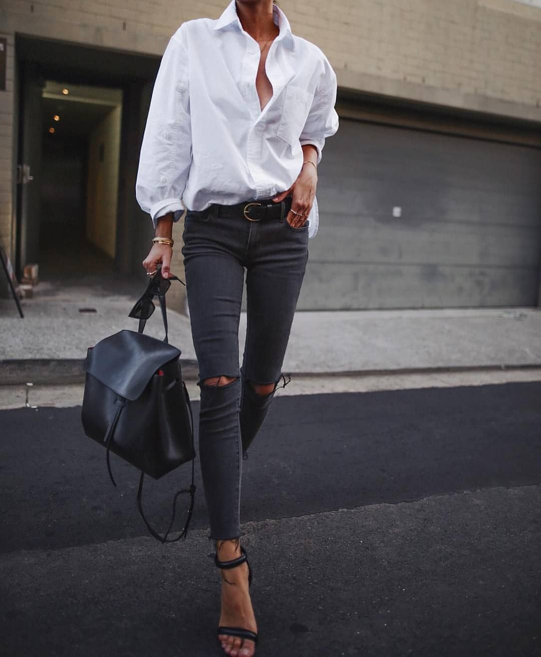 How To Wear Menswear Clothes For Women: White Shirt + Jeans 2021