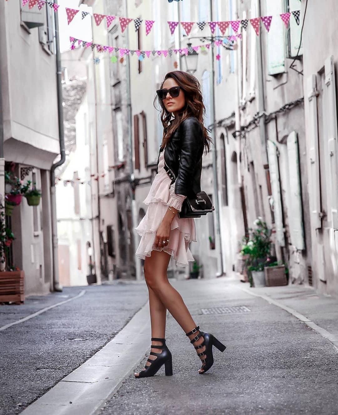 Can I Style Black Leather Jacket With Mini Ruffled Dress And Buckled Heels 2020