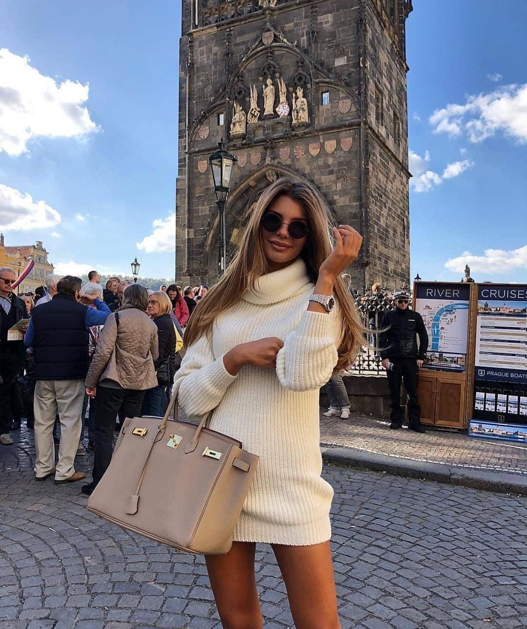 White Turtleneck Sweater Dress For Young Ladies 2019