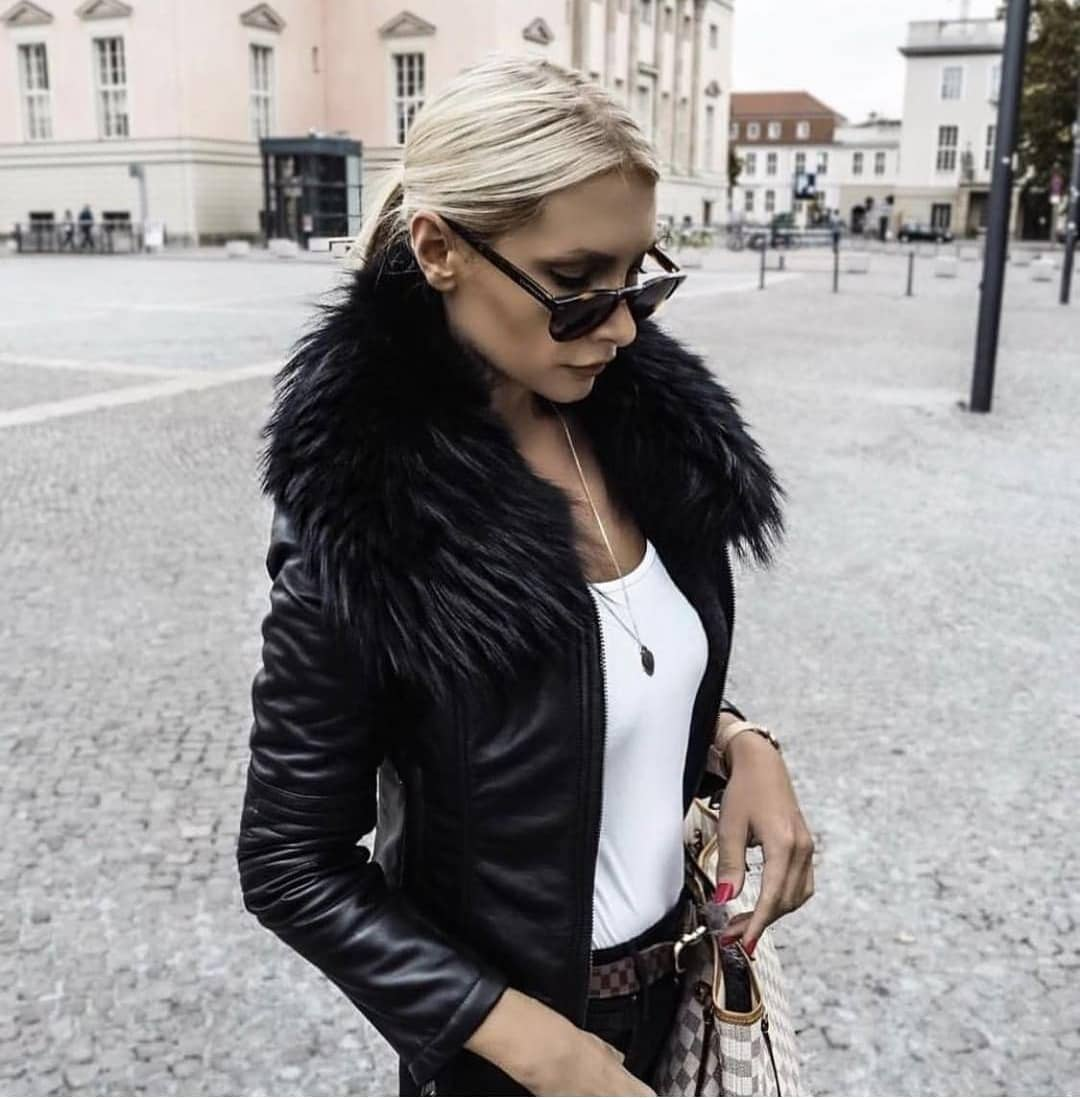 Should You Wear Black Leather Jacket With Fur Collar This Fall 2021