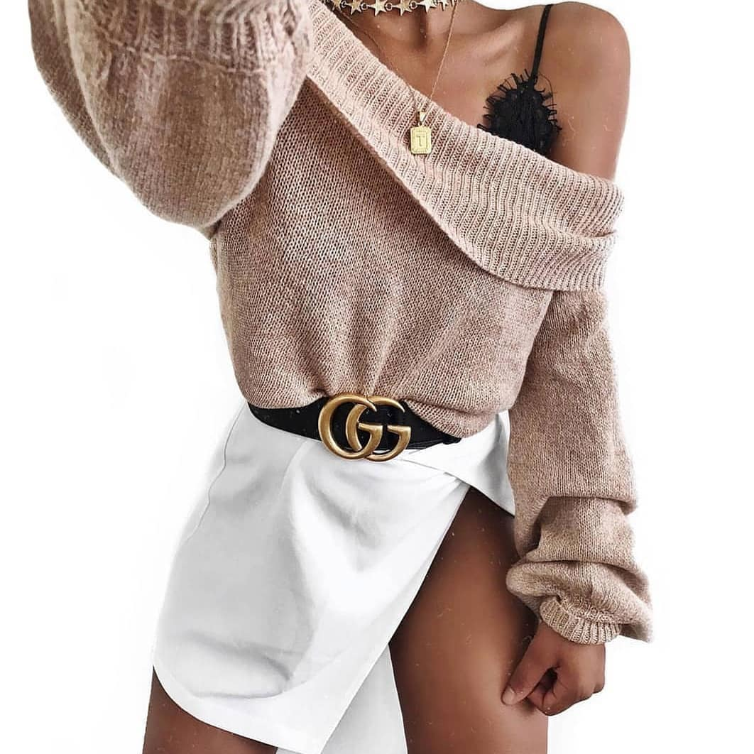 Slouchy Cocktail Party Look: One Shoulder Sweater And Wrap Mini Skirt 2019
