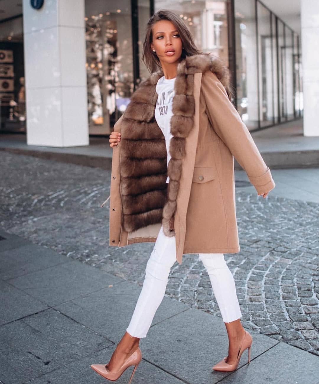 Fur Lined Camel Coat And All White Look For Winter 2019