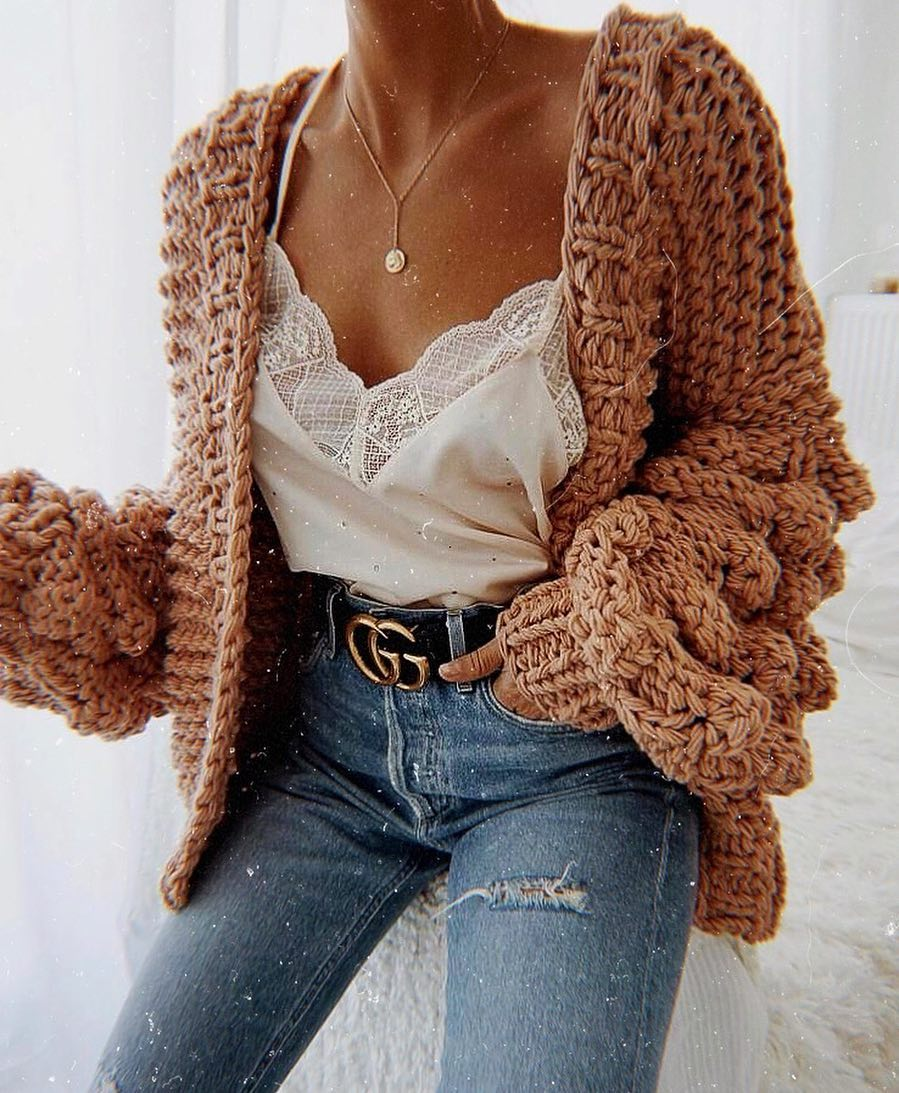 Can I Wear Chunky Oversized Cardigan With White Slip Tank Top This Spring 2019