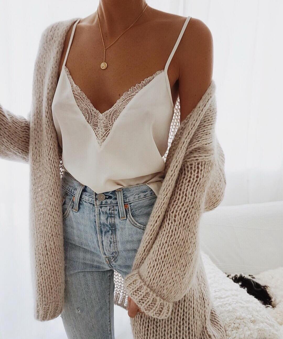 White Slip Tank Top With Lace Detailing With Beige Cardigan and Wash Jeans 2019