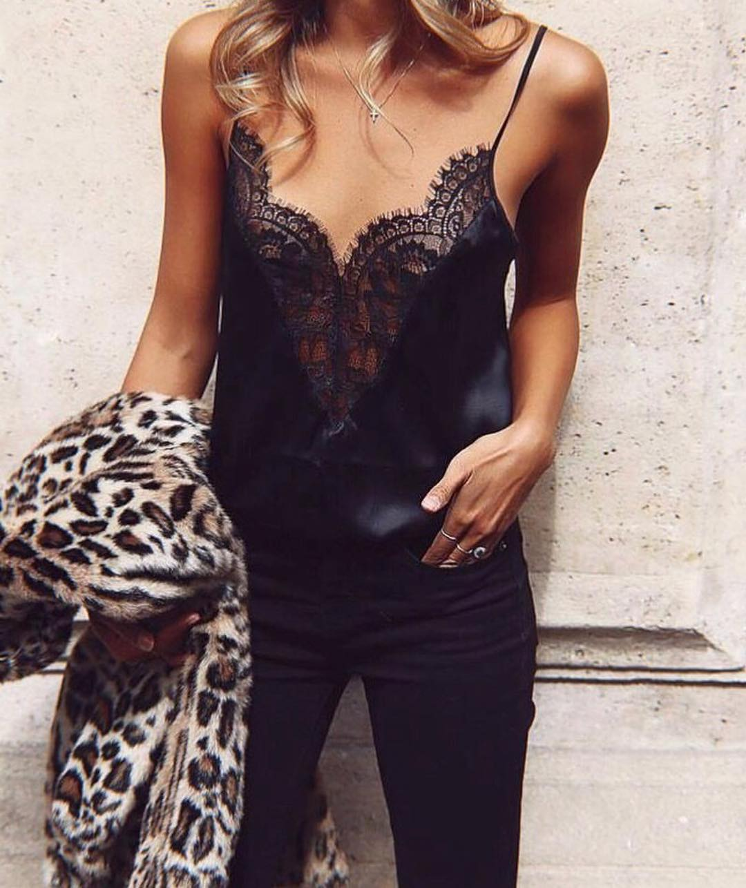 Fall Must Haves: Leopard Coat, Silk Black Slip Tank Top With Lace Detailing And Black Skinnies 2020