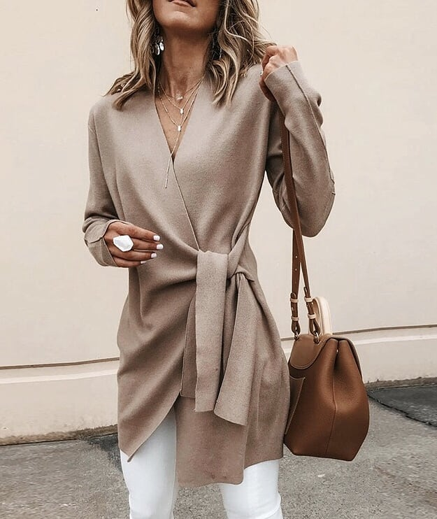 How To Wear Cream Beige Belted Cardigan This Fall 2020