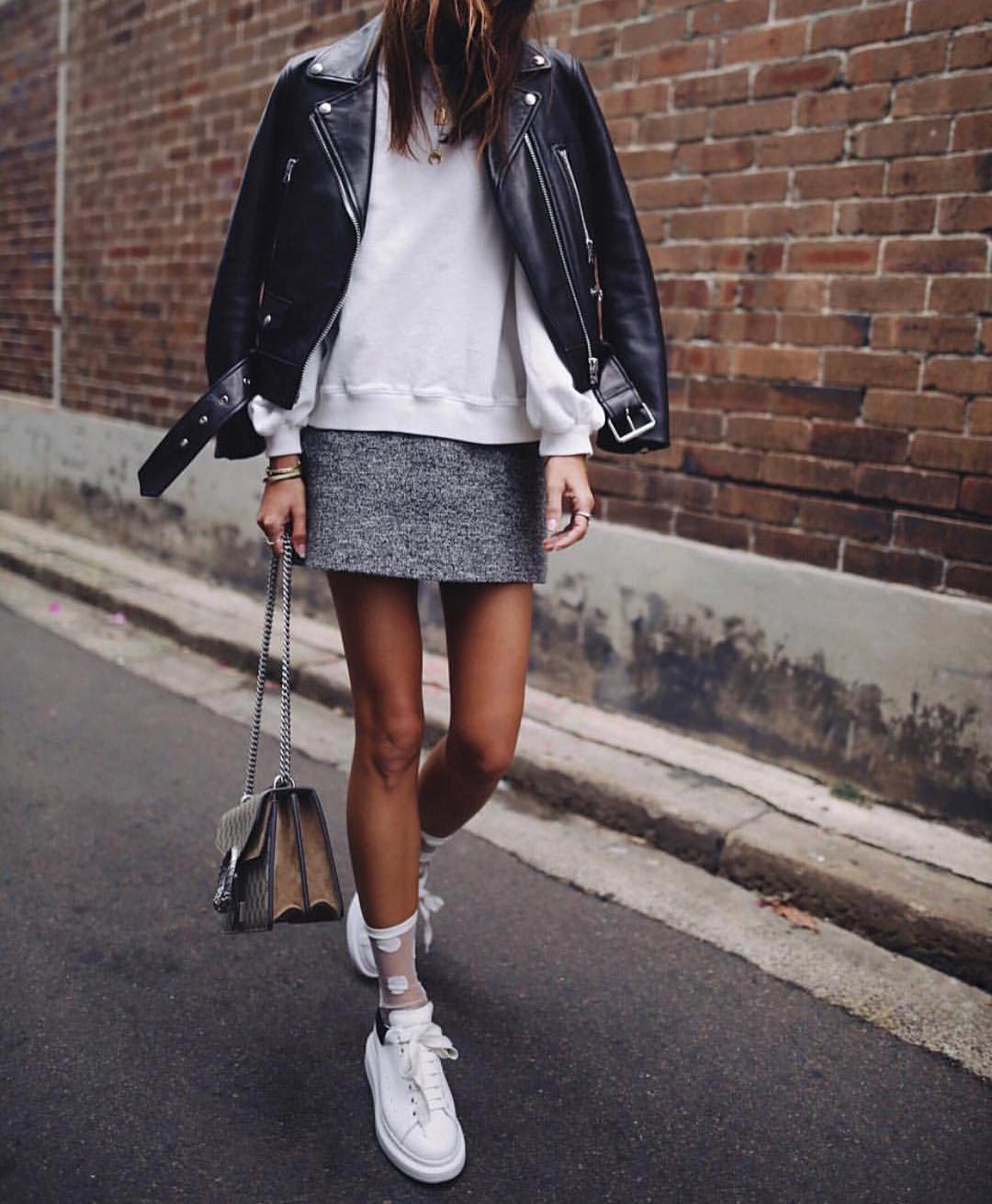 Black Leather Biker Jacket With White Sweatshirt And White Sneakers 2019