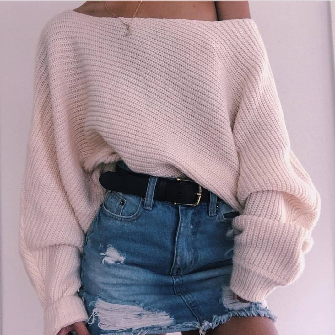 Off-Shoulder Oversized Sweater In White And Ripped Mini Denim Skirt For Summer 2019
