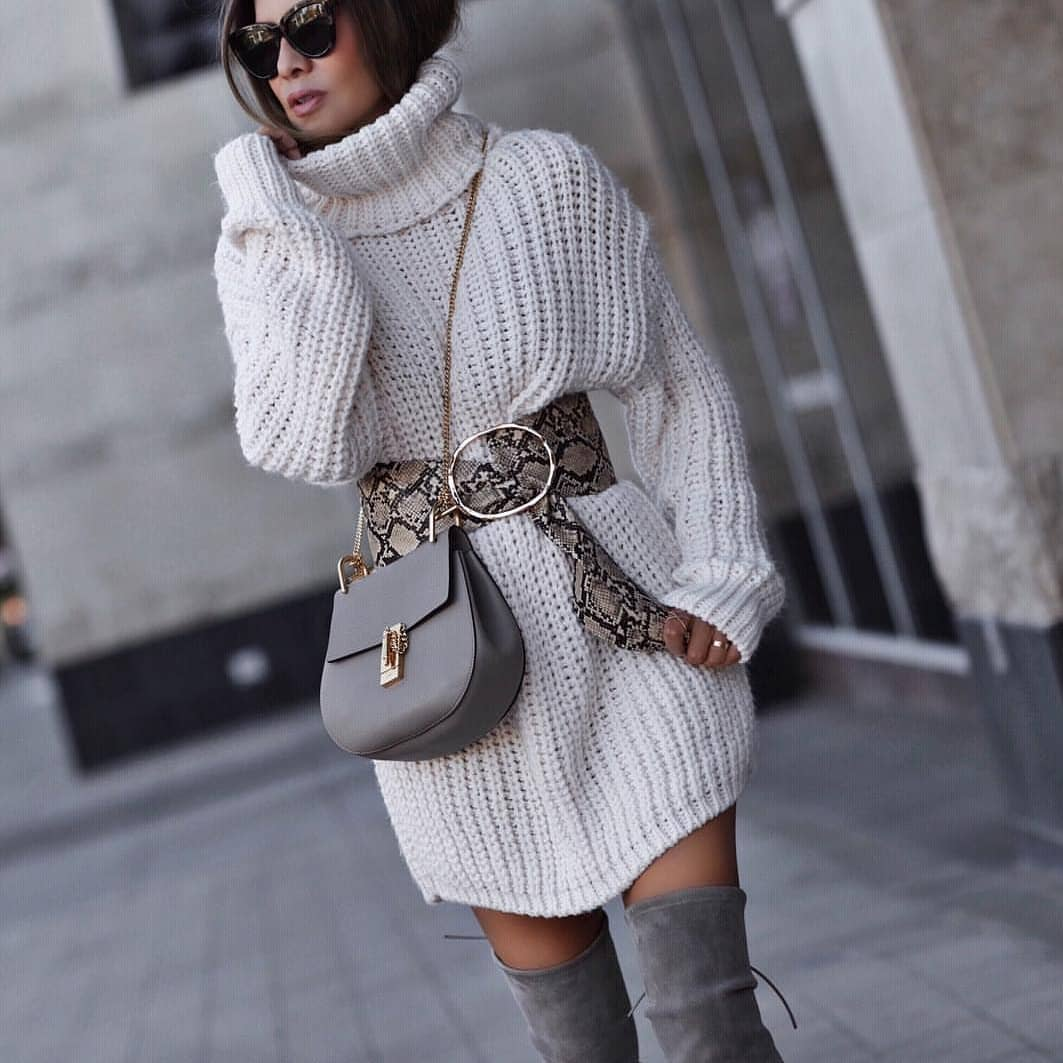 White Turtleneck Sweaterdress And Wide Snakeskin Print Belt For Fall 2020