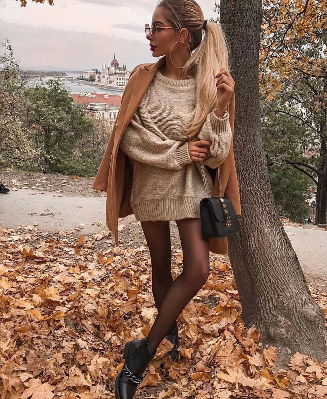 Camel Coat And Slouchy Sweater Dress In White For Fall 2019